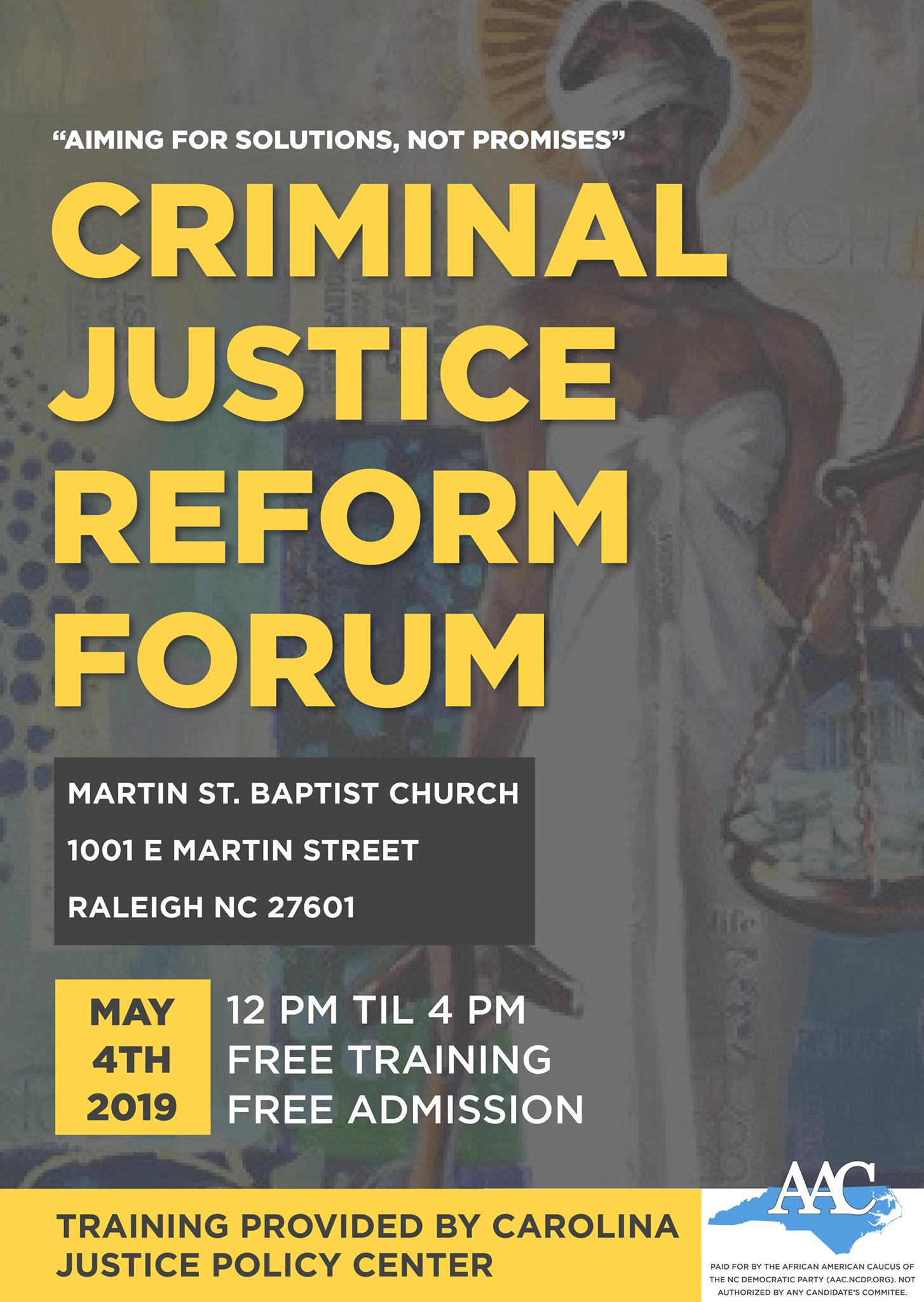 Criminal Justice Reform Forum